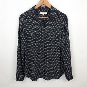 LOFT Black Printed Button Down Blouse